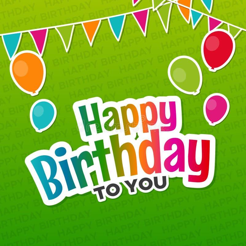 Gelukkige Verjaardag aan u Groetkaart met Ballons Eps10 Vector stock illustratie