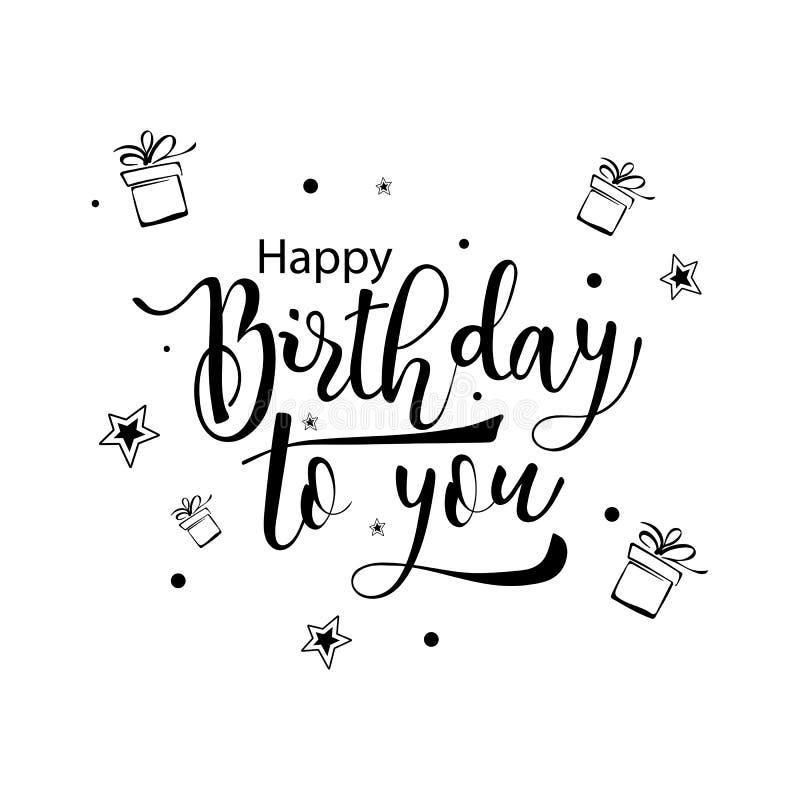 Gelukkige verjaardag aan u Hand het getrokken kalligrafische van letters voorzien royalty-vrije stock afbeelding