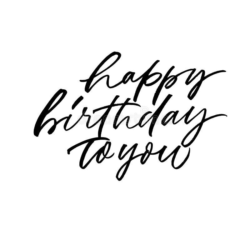 Gelukkige verjaardag aan u hand het getrokken vector van letters voorzien De zwarte kalligrafie van de inktpen vector illustratie
