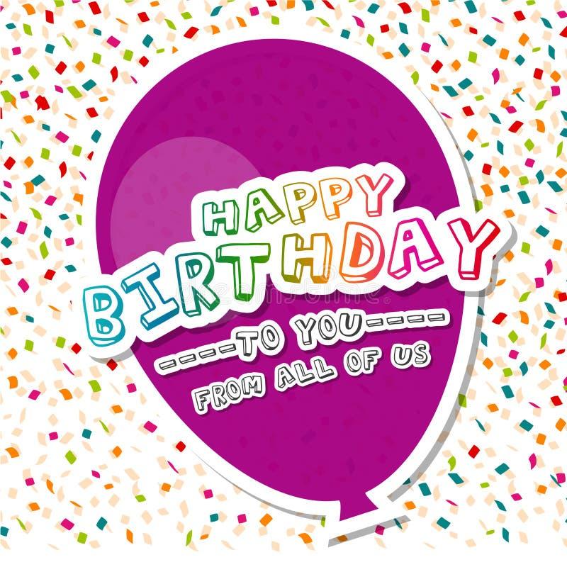 Gelukkige Verjaardag aan u met de Kaart van de ballongroet EPS10 vectorillustratie royalty-vrije illustratie