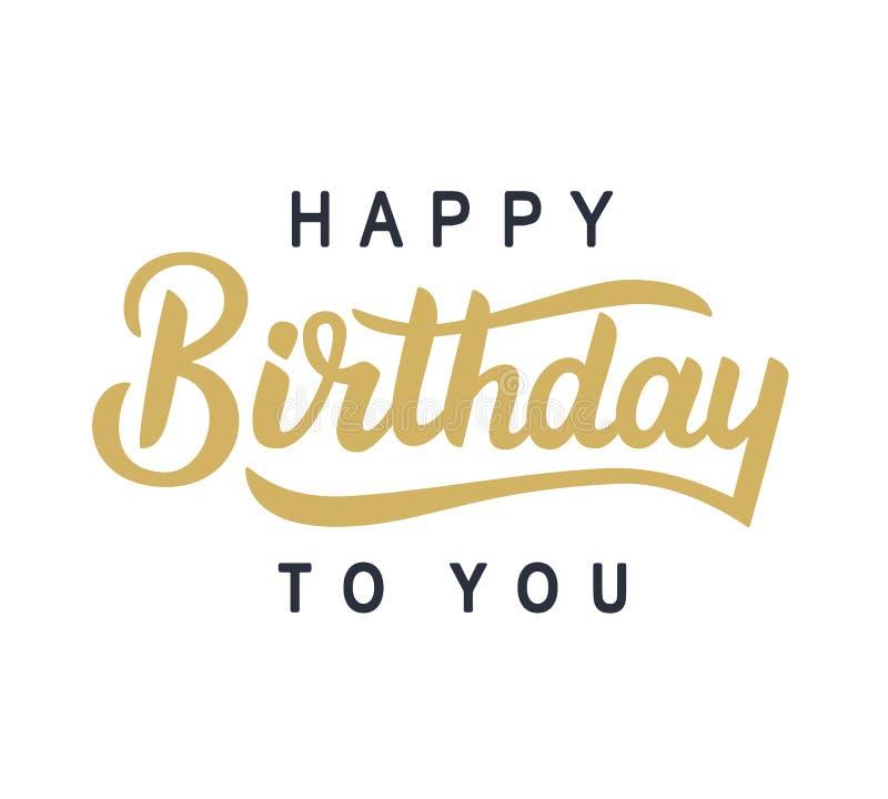 Gelukkige Verjaardag aan u typografieaffiche vector illustratie