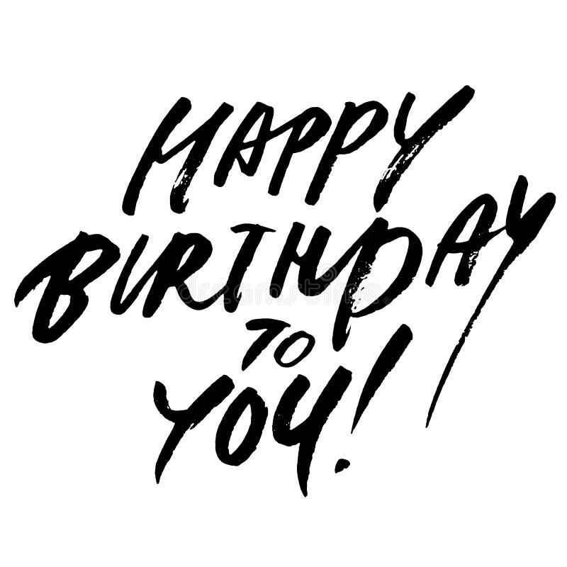 Gelukkige verjaardag aan u woorden Hand het getrokken creatieve kalligrafie en borstelpen van letters voorzien, ontwerp voor de k stock illustratie