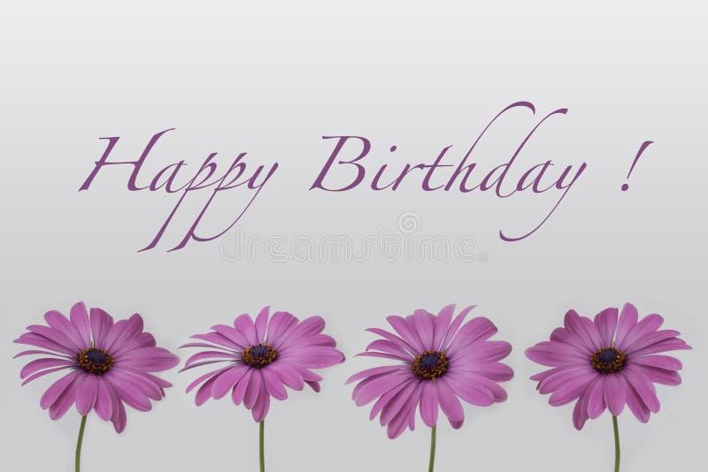 Extreem Gelukkige Verjaardag - Bloemen Op Wit Stock Illustratie  IZ04