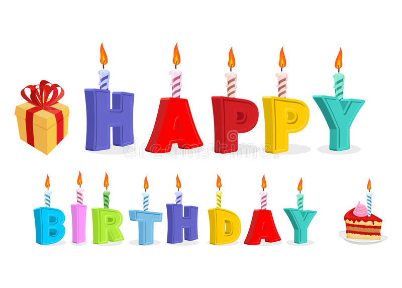 Gelukkige Verjaardag Brieven en kaarsen Embleem voor vakantie Typograph royalty-vrije illustratie