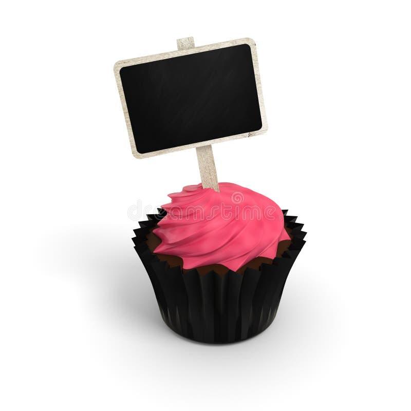 Gelukkige Verjaardag cupcake met het etiket van het borduithangbord op wit stock illustratie