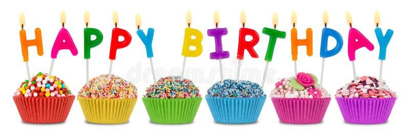 Gelukkige verjaardag cupcakes royalty-vrije stock afbeeldingen
