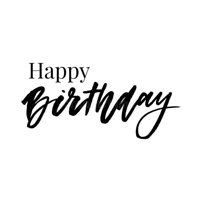 Gelukkige Verjaardag De mooie groetkaart kraste het woord gouden sterren van de kalligrafie zwarte tekst De hand getrokken druk v stock illustratie