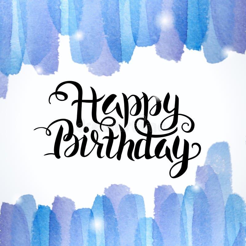 Gelukkige Verjaardag die Abstracte Waterverf Kleurrijke Achtergrond van letters voorzien stock illustratie