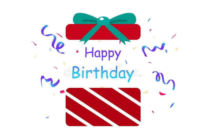 Gelukkige verjaardag, gift, de partij van verrassingsconfettien, decoratiedocument stock illustratie