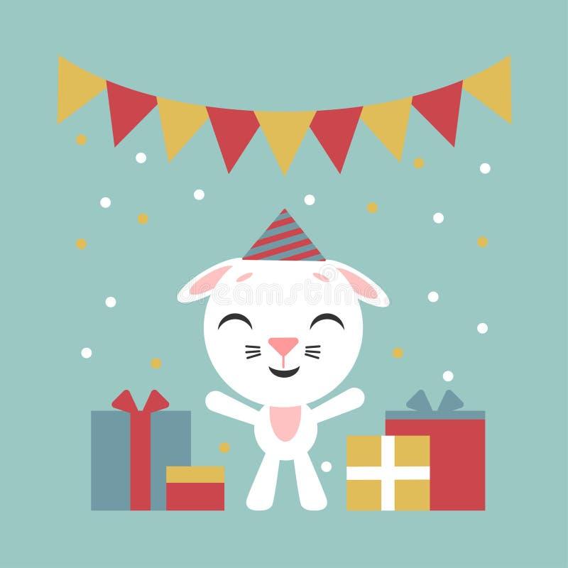 Gelukkige Verjaardag Grappig weinig konijn Beeldverhaalkonijntje met giftdozen Vector illustratie Vlak stijlontwerp voor Web, pla royalty-vrije illustratie
