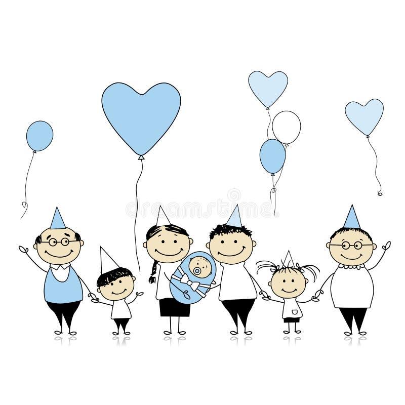 Gelukkige verjaardag, grote familie met kinderen royalty-vrije illustratie