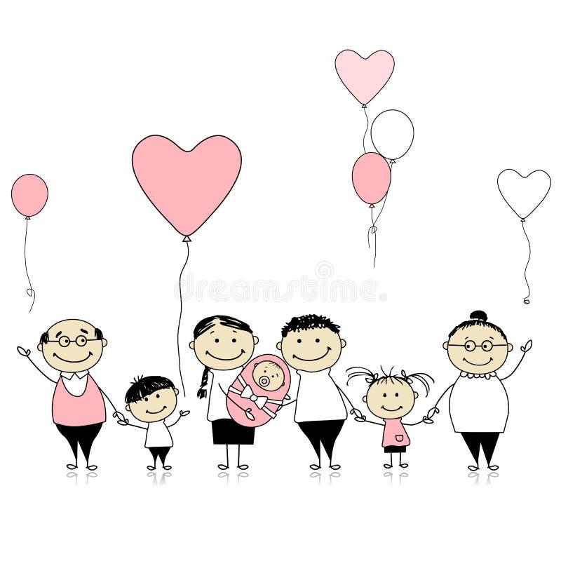 Gelukkige verjaardag, grote familie met pasgeboren kinderen, royalty-vrije illustratie
