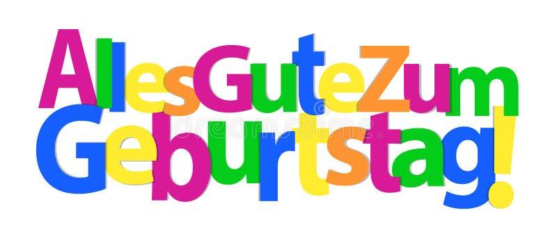 Gelukkige Verjaardag in het Duits - Kleurrijke Vectorachtergrond vector illustratie