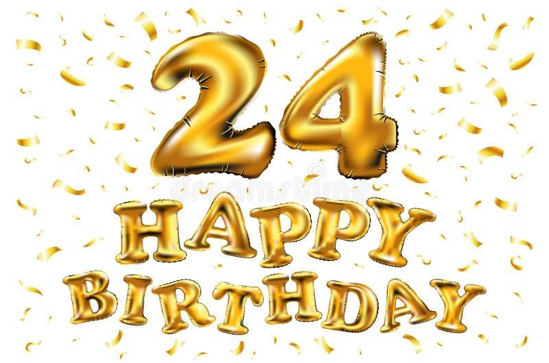 Gelukkige verjaardag 24 jaar van de verjaardagsvreugde de vierings 3d Illustratie met briljante gouden ballons & verrukkingsconfe royalty-vrije illustratie