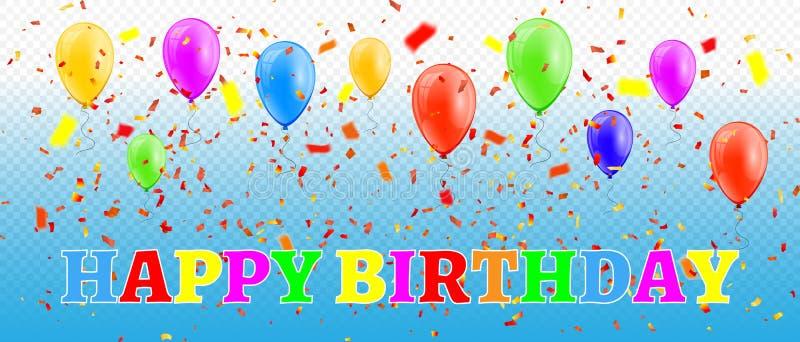 Gelukkige Verjaardag Kleurrijke ballons en confettien op transparante achtergrond Vector illustratie royalty-vrije illustratie