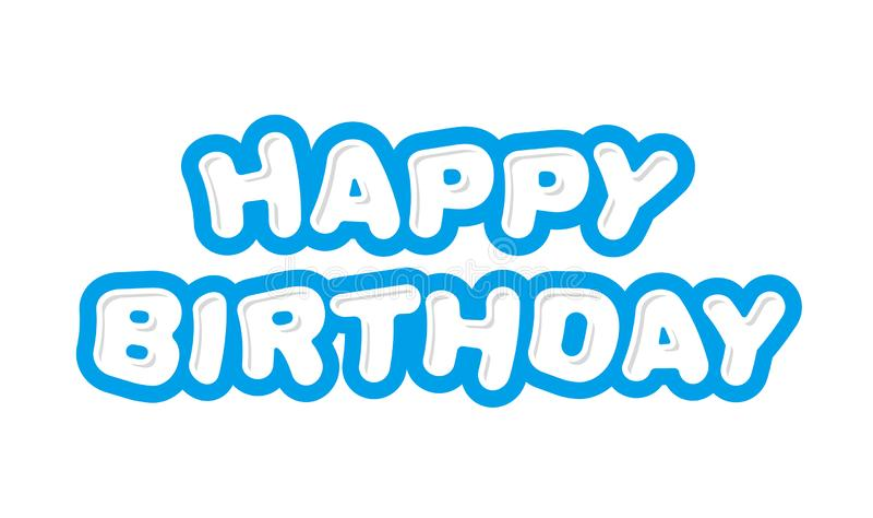 Gelukkige verjaardag, leuke inschrijving royalty-vrije illustratie