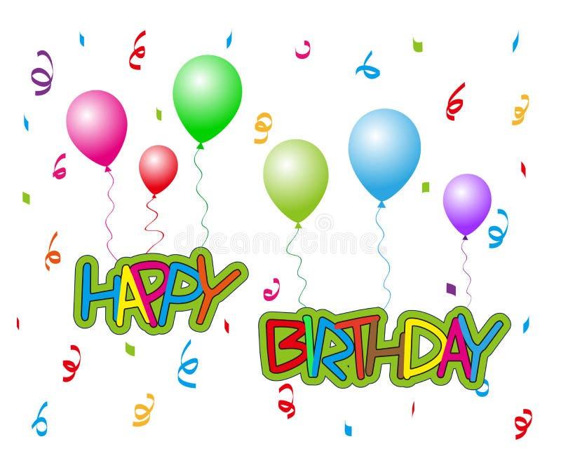 Gelukkige Verjaardag met ballons stock illustratie
