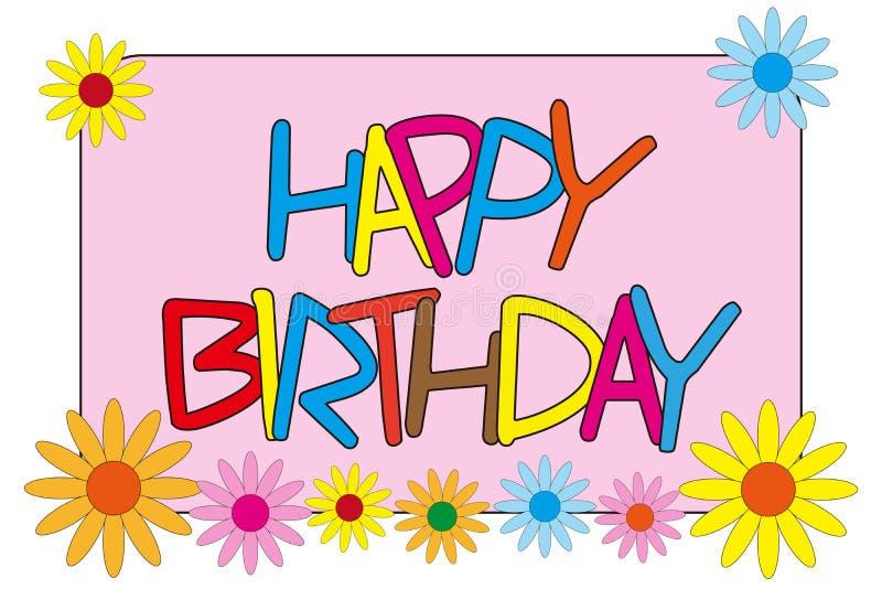 Gelukkige verjaardag met bloemen royalty-vrije illustratie