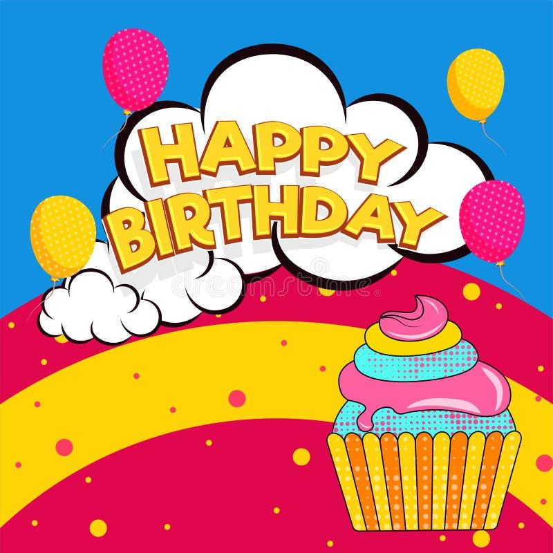 Gelukkige Verjaardag op wolkenbel vector illustratie