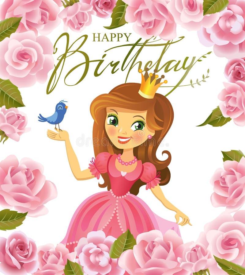 Zeer Gelukkige Verjaardag, Prinses, Groetkaart Vector Illustratie  @QJ15