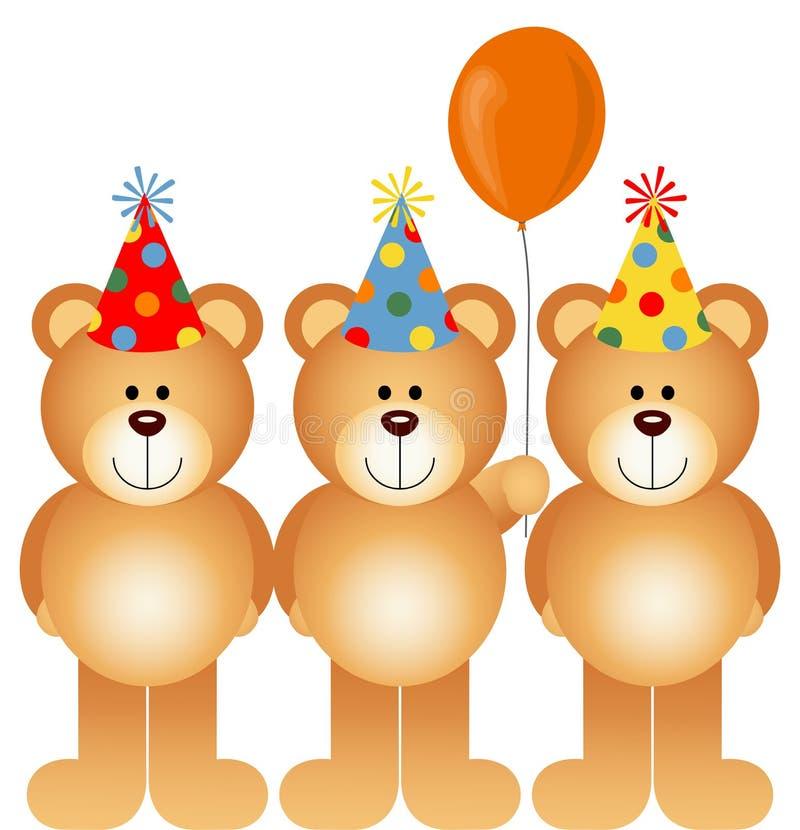 Gelukkige Verjaardag Teddy Bears royalty-vrije illustratie