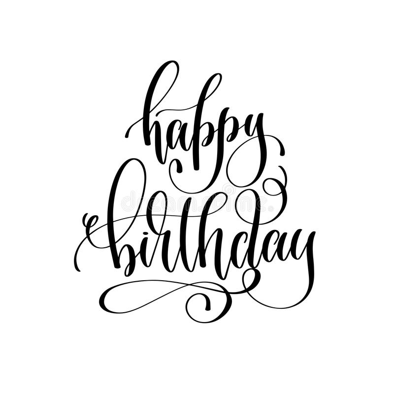 Gelukkige verjaardag - vakantiebanner, het zwart-witte hand van letters voorzien royalty-vrije illustratie