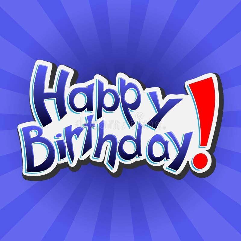 Gelukkige Verjaardag! Vector van letters voorziende illustratie op blauwe achtergrond royalty-vrije stock afbeelding