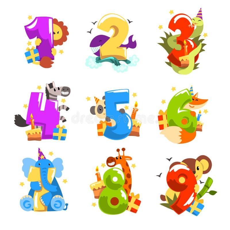 Gelukkige verjaardag, verjaardagsaantallen met leuke dierlijke set van tekens, grappige leeuw, zebra, walvis, slang, vos, giraf royalty-vrije illustratie
