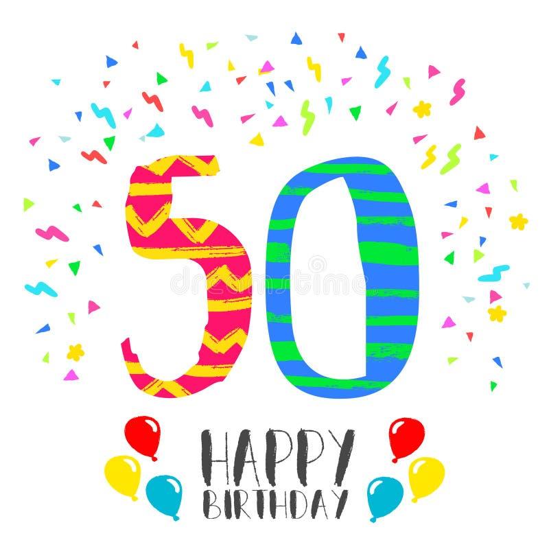 Gelukkige Verjaardag voor de uitnodigingskaart van de 50 jaarpartij vector illustratie