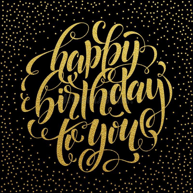 Gelukkige Verjaardags gouden tekst voor groetkaart, uitnodiging vector illustratie