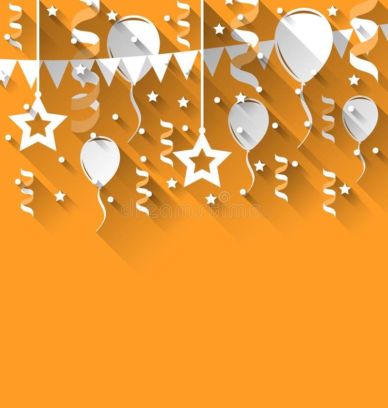 Gelukkige verjaardagsachtergrond met ballons, sterren en wimpels, tre royalty-vrije illustratie
