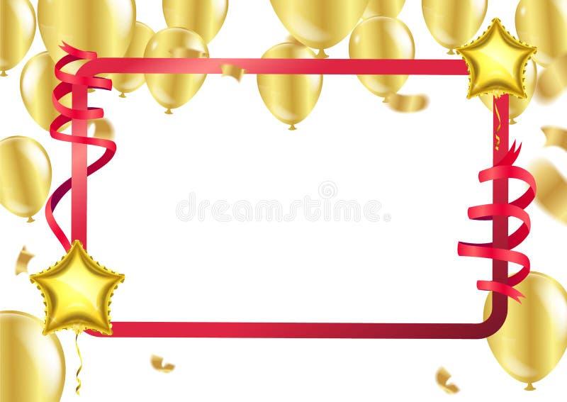 Gelukkige Verjaardagsachtergrond met reeks gouden ballons, multicolore stock illustratie