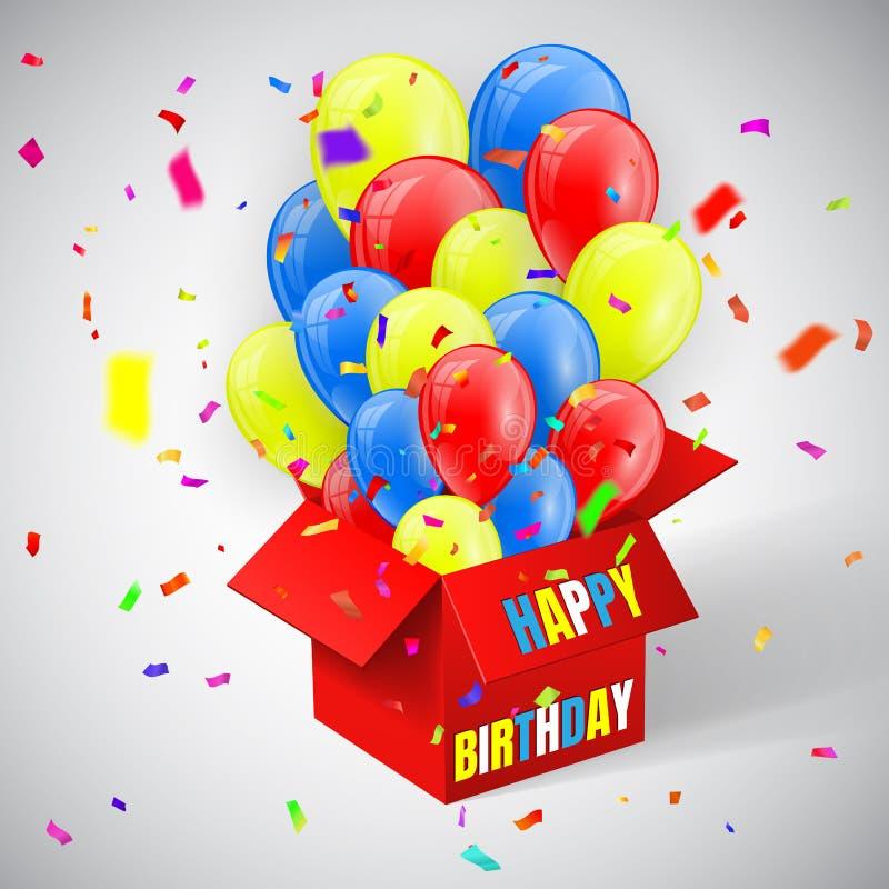 Gelukkige Verjaardagsaffiche met confettien en Ballonsbos die van open rood vakje vliegen Vector illustratie vector illustratie