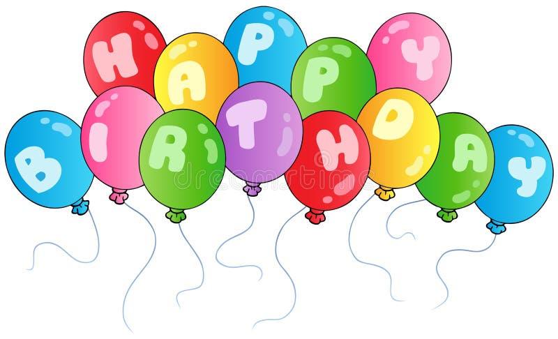 Gelukkige verjaardagsballons royalty-vrije illustratie