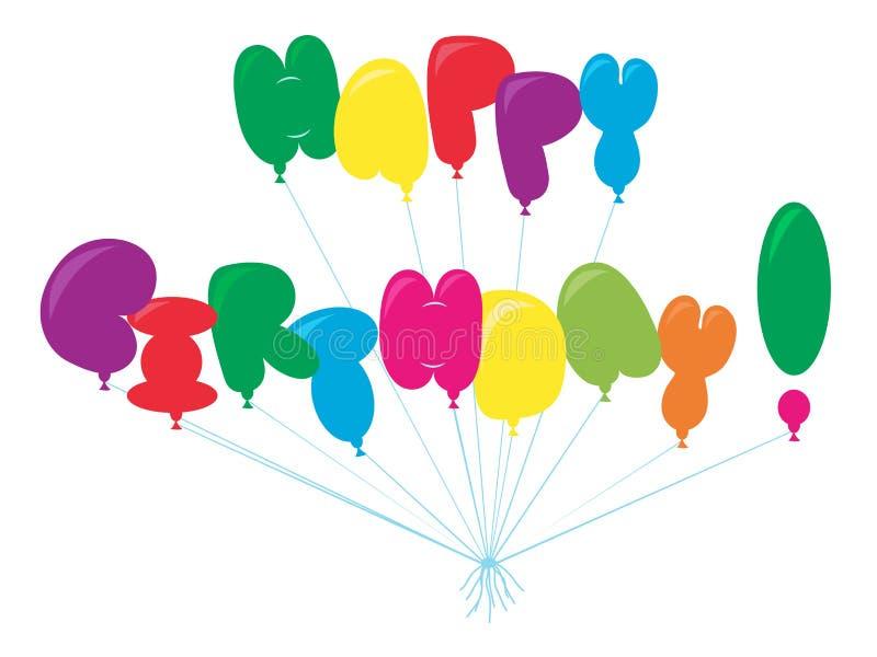 Gelukkige verjaardagsballons stock illustratie
