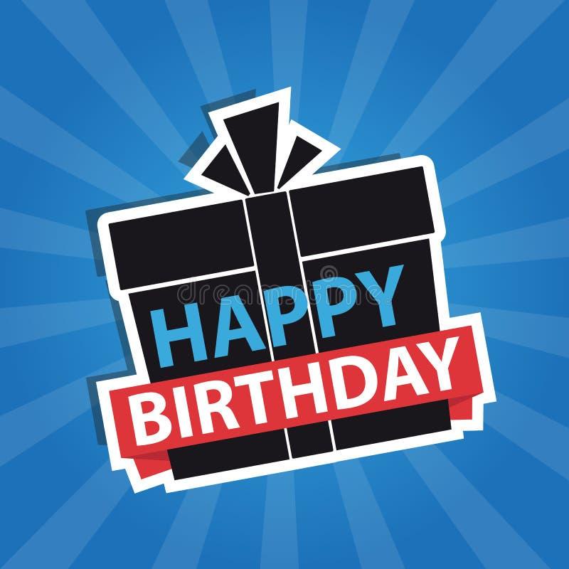 Gelukkige Verjaardagsbanner, Achtergrond - de Moderne Retro Vector van Editable stock illustratie