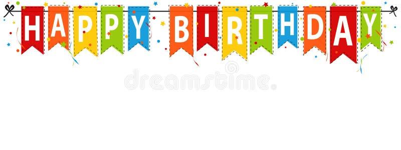 Gelukkige Verjaardagsbanner, Achtergrond - de Vectorillustratie van Editable royalty-vrije illustratie