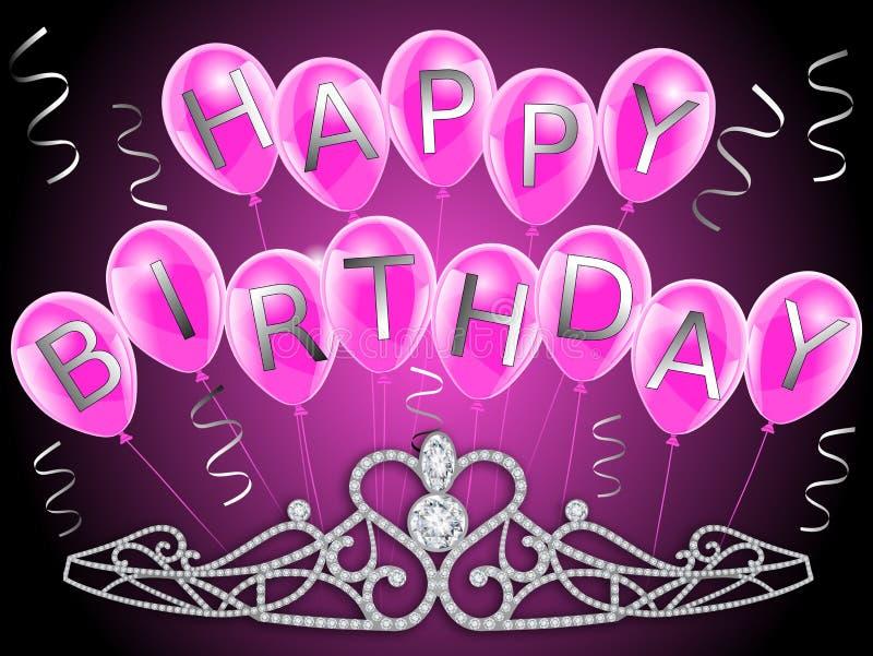 Gelukkige verjaardagsbanner met roze ballons en diamantenkroon voor meisjes vector illustratie