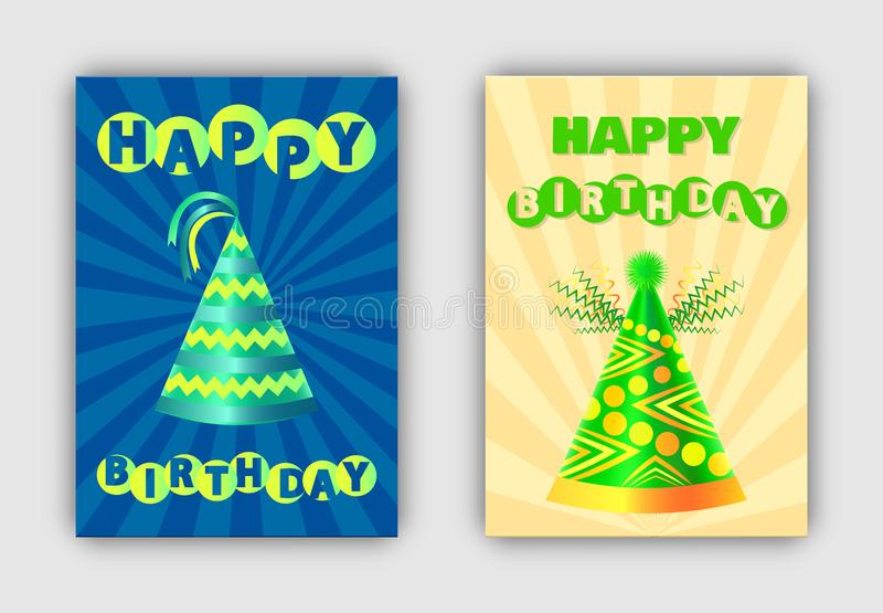 Gelukkige Verjaardagsbanners Geplaatst Vectorillustratie royalty-vrije illustratie