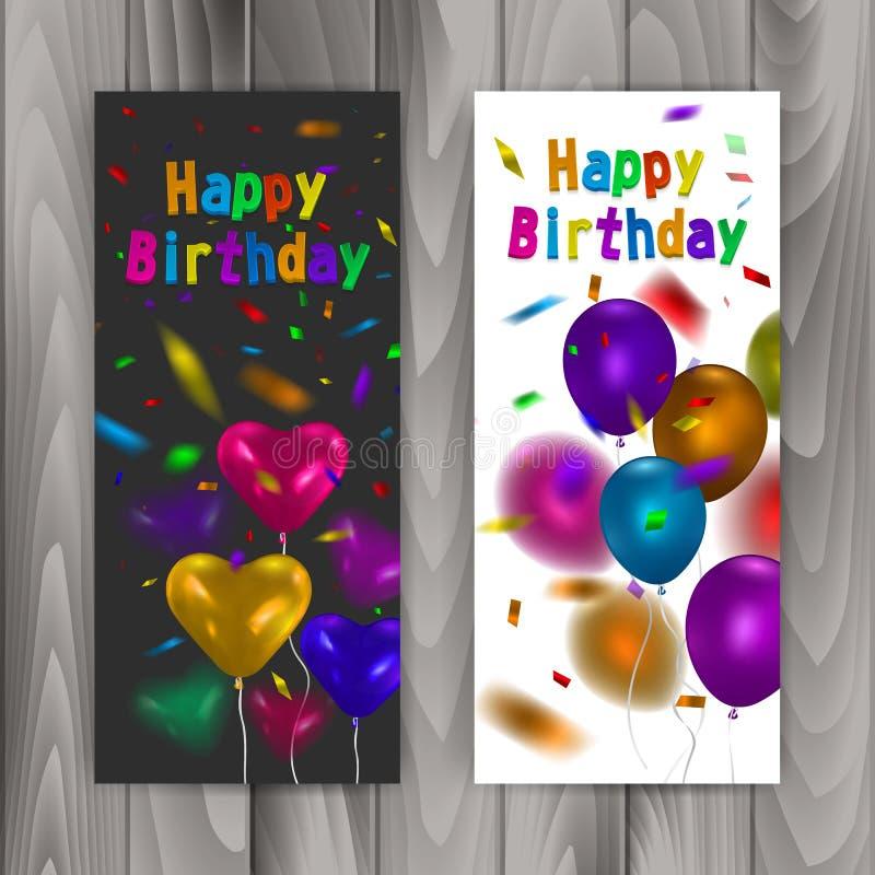 Gelukkige verjaardagsbanners, reeks banners met kleurrijke realistische ballons, vectorillustratie royalty-vrije illustratie