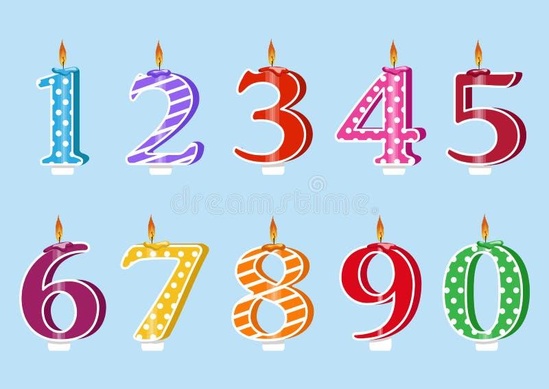 Gelukkige verjaardagscake met kaarsenaantallen voor elk jaar Vector i vector illustratie