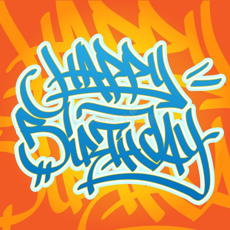 Gelukkige verjaardagsgraffiti stock illustratie