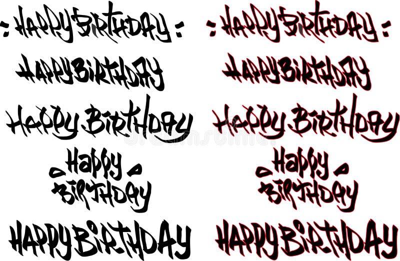 Gelukkige verjaardagshand getrokken die tekst met graffitidoopvonten wordt geëtiketteerd royalty-vrije illustratie