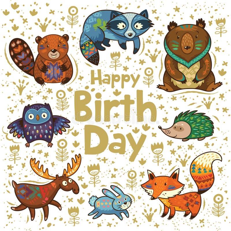 Gelukkige verjaardagskaart vector illustratie