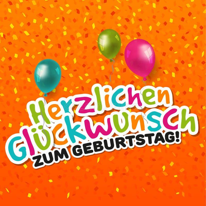 De Gelukkige Kaart Van De Verjaardag Het Duits Stock