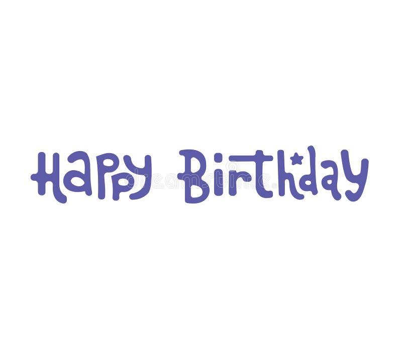 Gelukkige Verjaardagskaart, hand getrokken ontwerpelementen, giften, behang, Webmalplaatje, kaart, uitnodiging royalty-vrije illustratie