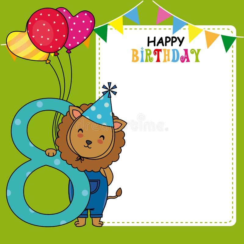 Gelukkige verjaardagskaart Leeuw met ballons en aantal acht vector illustratie