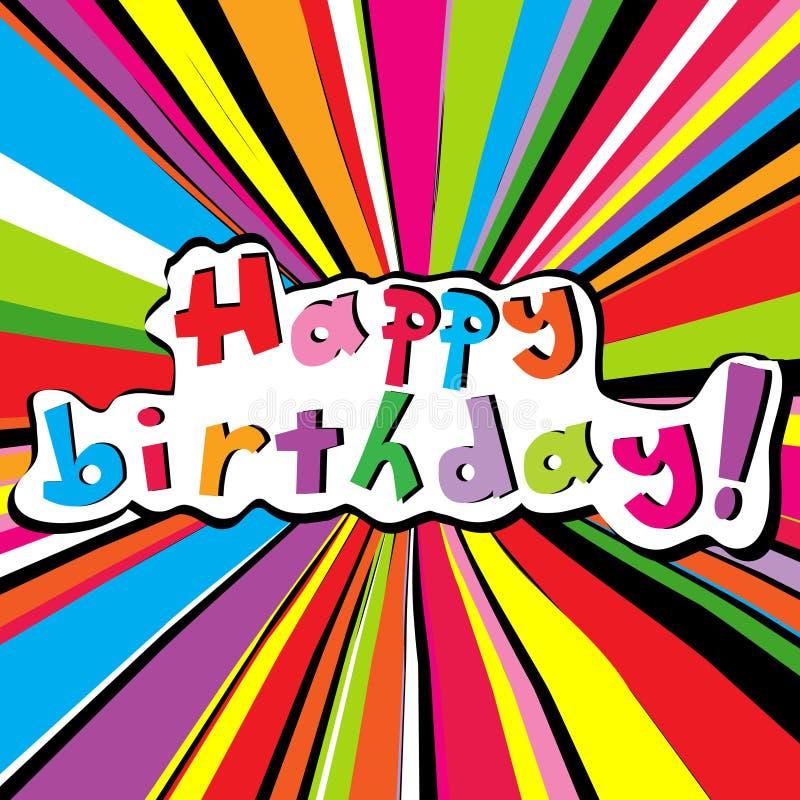 Gelukkige verjaardagskaart met gekleurde zonnestraal stock illustratie