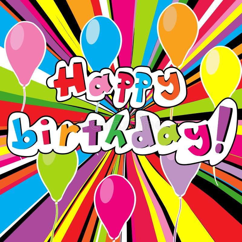 Gelukkige verjaardagskaart met gekleurde zonnestraal royalty-vrije illustratie