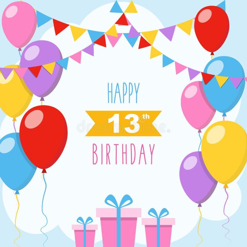 Gelukkige verjaardagskaart met giftdozen royalty-vrije stock afbeelding